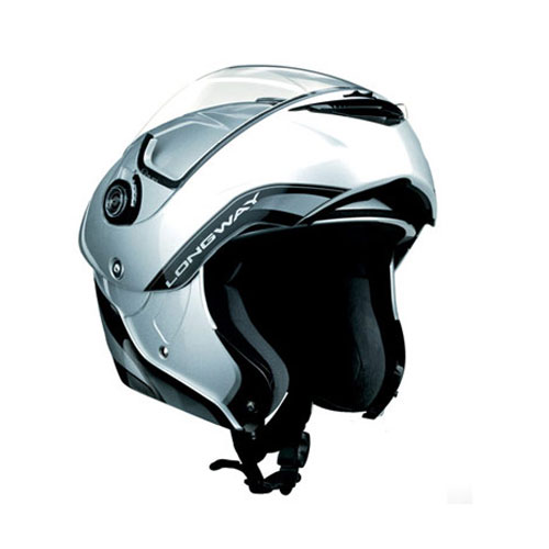 CASCO ABATIBLE AGV LONGWAY SOLID M PLATA