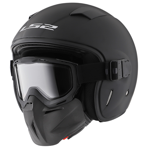 CASCO ABIERTO LS2 BLACK MASK SOLID L NEGRO MATE OF539